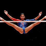 Marcia Vidiaux of Cuba performs on the Uneven Bars at the 46th FIG Artistic Gymnastics World Championships in Glasgow, Britain, 24 October 2015.