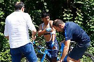 Nairo Quintana (COL - Movistar) injury, during the 105th Tour de France 2018, Stage 18, Trie sur Baise - Pau (172 km) on July 26th, 2018 - Photo Luca Bettini / BettiniPhoto / ProSportsImages / DPPI