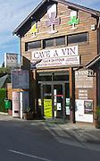 Wine shop. Many publicity signs. Pauillac, Medoc. Bordeaux, France