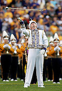 September 13, 2008; Baton Rouge, LA, USA; LSU Tigers drum major Rob Dowie tosses his mace during the LSU Tigerband pre-game performance at Tiger Stadium in Baton Rouge. LSU defeated the North Texas Mean Green 41-3. Mandatory Credit: Crystal LoGiudice-US PRESSWIRE ..