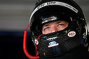 NASCAR Sprint Cup Series auto racing driver Brad Keselowski prepares for a practice run at Kansas Speedway in Kansas City, Kan., Saturday, Oct. 4, 2014. (AP Photo/Colin E. Braley)