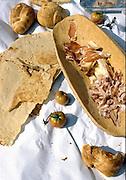 skinke og flatbrød, Sardinia.dias Sardinia, Italy.