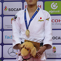 Kenzo Tagawa of Japan celebrates his victory during an awards ceremony after the Men -66 kg category at the Judo Grand Prix Budapest 2018 international judo tournament held in Budapest, Hungary on Aug. 10, 2018. ATTILA VOLGYI