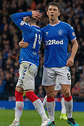 Ryan Kent of Rangers FC comes close to opening the scoring during the Betfred Scottish League Cup semi-final match between Rangers and Heart of Midlothian at Hampden Park, Glasgow, United Kingdom on 3 November 2019.