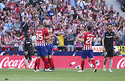 May 12, 2019 - Madrid, Madrid, Spain - Players of Atletico de Madrid  celebrating a goal during La Liga Spanish championship, , football match between Atletico de Madrid and Sevilla, May 12th, in Wanda Metropolitano Stadium in Madrid, Spain. (Credit Image: © AFP7 via ZUMA Wire)