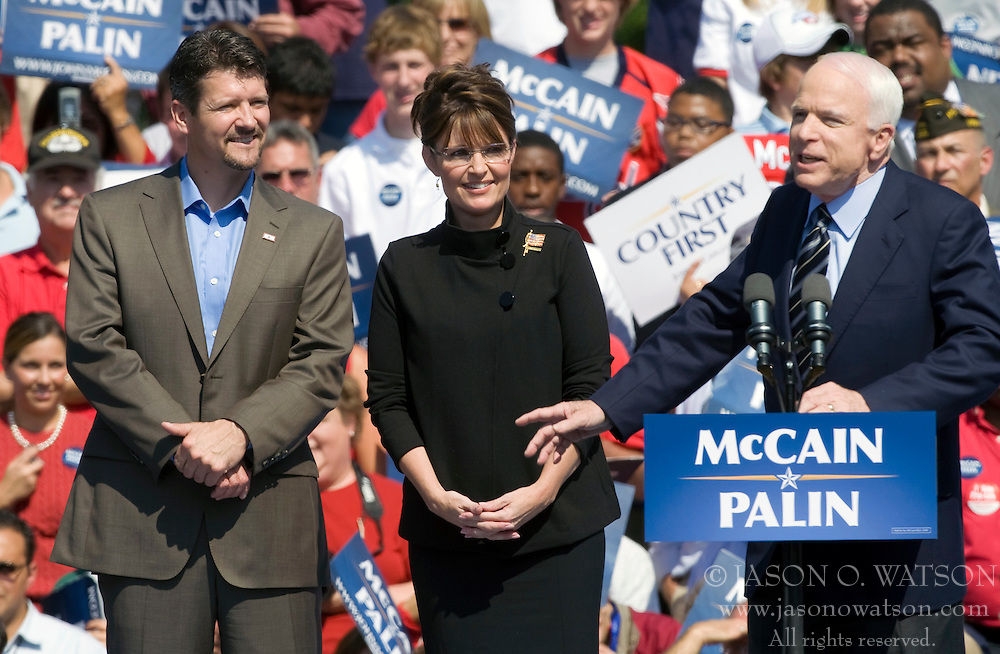 """Sen. John McCain discusses facts about Todd Palin and his wife Gov. Sarah Palin while on the campaign trail in Virginia.  2008 Republican Presidential nominee Senator John McCain (R-AZ) and Governor Sarah Palin (R-AK) held a """"Road to Victory Rally"""" in front of an estimated 23,000 supporters in Van Dyke Park in Fairfax, VA on September 10, 2008."""