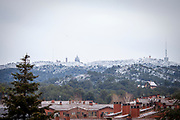 Snow on the basilica and amusement park Tibidabo, and surrounding Parc Collserola, Barcelona