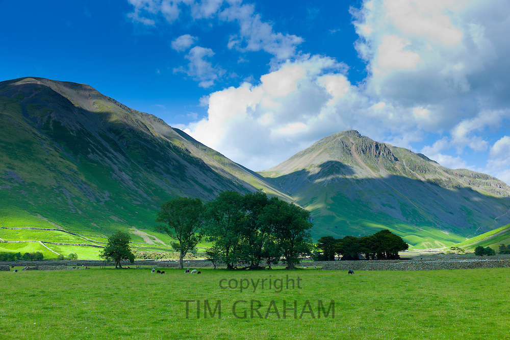 Wasdale Fell and Great Gable by Wastwater in the shadow of Sca Fell Pike in the Lake District National Park, Cumbria, UK