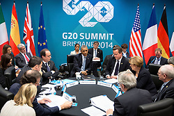 President Barack Obama attends the G20 European Leaders Meeting on the Transatlantic Trade and Investment Partnership and Ukraine at the Brisbane Convention and Exhibition Center, Brisbane, Queensland, Australia, Nov. 16, 2014. Seated clockwise from the President are: Prime Minister David Cameron of the United Kingdom; Chancellor Angela Merkel of Germany; Herman Van Rompuy, President of the European Council;  Jean-Claude Juncker, President of the European Commission; Prime Minister Mariano Rajoy Brey of Spain; Prime Minister Matteo Renzi of Italy and President François Hollande of France. (Official White House Photo by Pete Souza)<br /> <br /> This official White House photograph is being made available only for publication by news organizations and/or for personal use printing by the subject(s) of the photograph. The photograph may not be manipulated in any way and may not be used in commercial or political materials, advertisements, emails, products, promotions that in any way suggests approval or endorsement of the President, the First Family, or the White House.