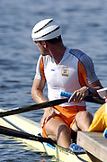 20040814 Olympic Games Athens Greece [Rowing]<br /> Photo  Peter Spurrier <br /> NED M1X Dirk Lippets wearing a wind resistant hat.<br /> <br /> email;  images@intersport-images.com<br /> Tel +44 7973 819 551<br /> T<br /> <br /> <br />  *** Local Caption *** ©Peter Spurrier Intersport Images.<br /> email images@intersport-images.com<br /> Tel +44 7973 819 551[Mandatory Credit Peter Spurrier/ Intersport Images]