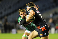 Hamish Watson hands off Marco Barbini during the Guinness Pro 14 2018_19 match between Edinburgh Rugby and Benetton Treviso at Murrayfield Stadium, Edinburgh, Scotland on 28 September 2018.