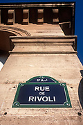 A detail of a street sign for the Rue de Rivoli, in the 1st Arrondissement, on 26th April 2008, in Paris France.