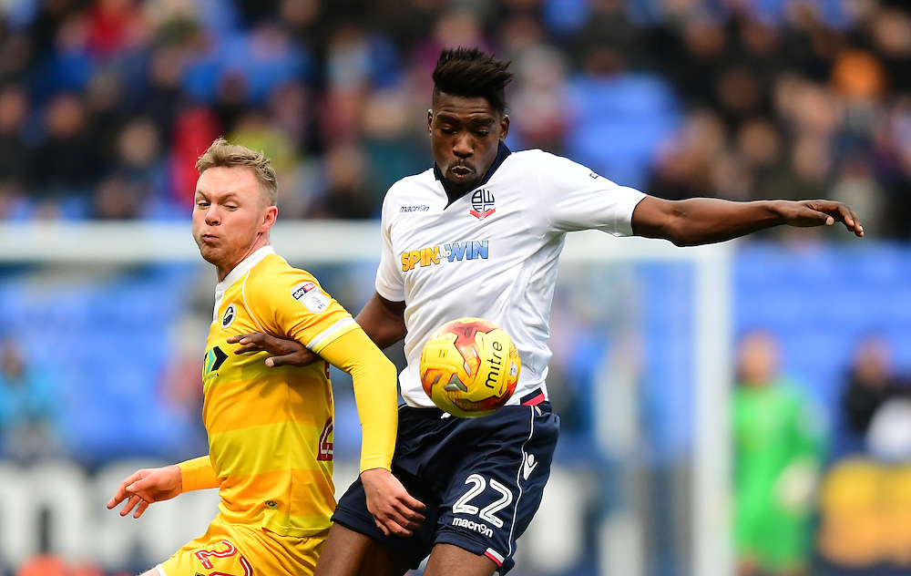 Bolton Wanderers' Sammy Ameobi vies for possession with Millwall's Aiden O'Brien<br /> <br /> Photographer Chris Vaughan/CameraSport<br /> <br /> The EFL Sky Bet League One - Bolton Wanderers v Millwall - Saturday 19th November 2016 - Macron Stadium - Bolton<br /> <br /> World Copyright © 2016 CameraSport. All rights reserved. 43 Linden Ave. Countesthorpe. Leicester. England. LE8 5PG - Tel: +44 (0) 116 277 4147 - admin@camerasport.com - www.camerasport.com