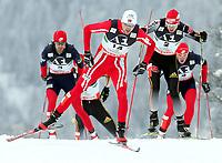 Kombinert , 1512076422 - RAMSAU,AUSTRIA,15.DEZ.07 - SKI NORDISCH, NORDISCHE KOMBINATION, LANGLAUF - FIS Weltcup Ramsau, 10 km, Massenstart. Bild zeigt Johnny Spillane (USA), Magnus Moan (NOR) und Bjoern Kircheisen <br /> <br /> Norway only