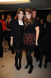 Left to right, PRINCESS EUGENIE OF YORK and PRINCESS BEATRICE OF YORK at the Form Menswear launch at Harrod's, London on 2nd October 2008.