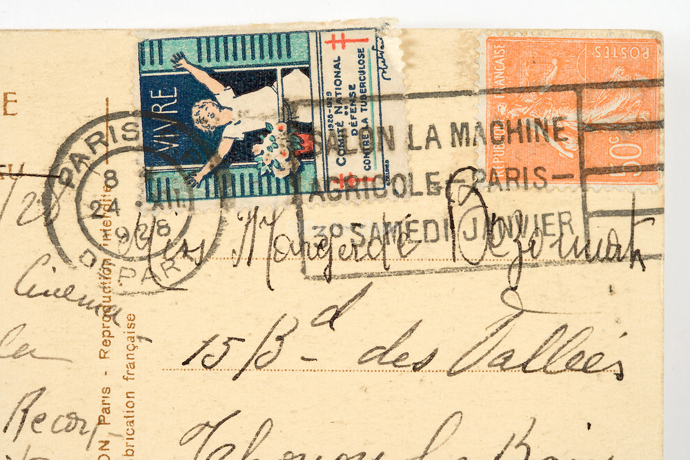 French stamps on a postcard mailed from Paris in 1928