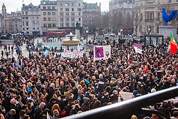 London, February 15th 2015. Londoners demonstrate in solidarity with Greeks in their fight against the EU's insistance that they maintain their programme of austerity. PICTURED: Hundreds fill the north Terrace of Trafalgar Square to listen to the speakers.