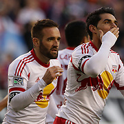 Fabian Espindola, New York Red Bulls, celebrates after scoring a goal during the New York Red Bulls V New England Revolution, Major League Soccer regular season match at Red Bull Arena, Harrison, New Jersey. USA. 20th April 2013. Photo Tim Clayton
