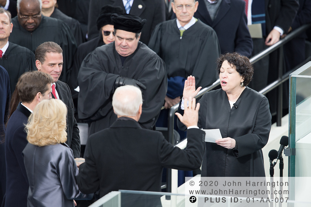 Vice Pesident Biden being sworn in during the 57th Presidential Inauguration of President Barack Obama at the U.S. Capitol Building in Washington, DC January 21, 2013.