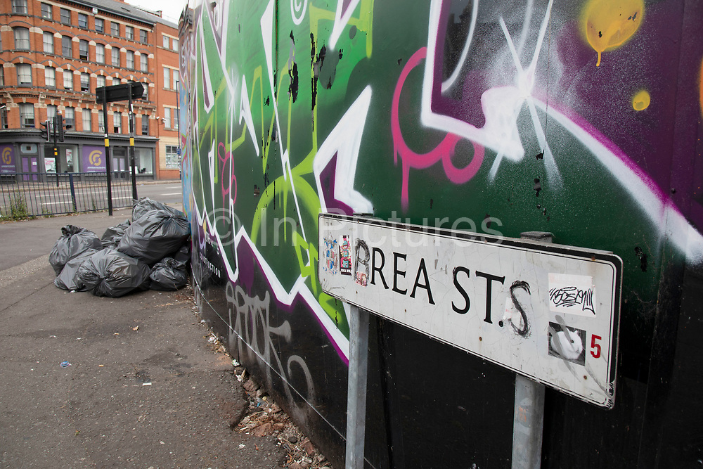 Rea Street in Digbeth has its street sign defaced in an amusing way spelling out the word breasts, in Birmingham, United Kingdom.
