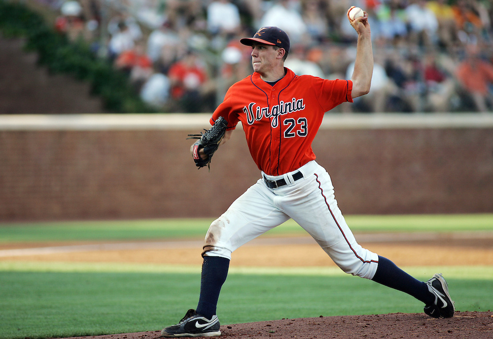 June 4, 2011; Charlottesville, VA, USA; Virginia Cavaliers pitcher Danny Hultzen pitches against the St. John's Red Storm during second inning in the Charlottesville regional of the 2011 NCAA baseball tournament at Davenport Field. Mandatory Credit: Peter J. Casey-US PRESSWIRE