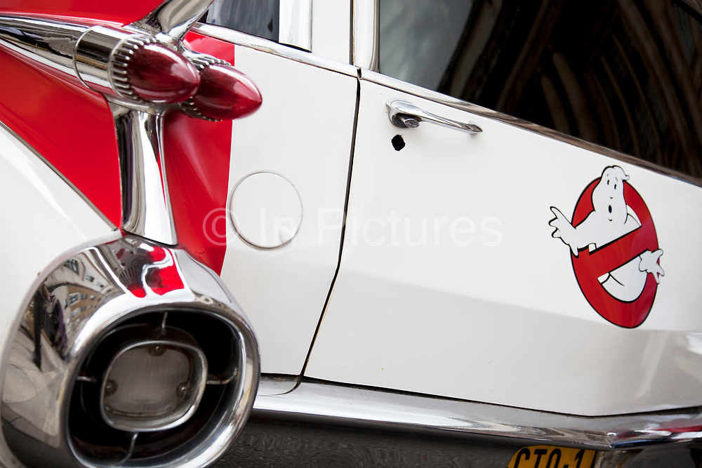 Detail of the famous car used in the hit American movie and tv show Ghostbusters. This white vehicle was an old ambulance servive vehicle.
