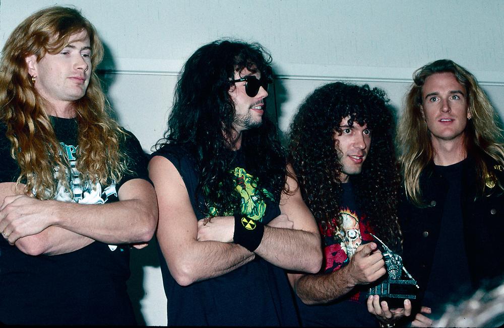 LOS ANGELES OCTOBER 5: Megadeth receives award for Top Artist (Radio Cut): Megadeth - Hangar 18 at the Foundations Forum on October 05, 1991 in Los Angeles, California. ©Lisa Lake