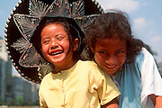 MEXICO, MEXICO CITY, CHAPULTEPEC Portrait of children. Subject for traditional street photographers