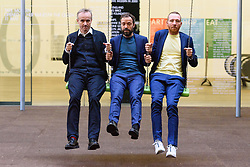 © Licensed to London News Pictures. 02/10/2017. London, UK. RASMUS NIELSEN, BJORNSTJERNE CHRISTIANSEN and JAKOB FENGER of <br /> Copenhagen artist group SUPERFLEX transforms the Tate Modern Turbine Hall with their creation  'One Two Three Swing!'<br /> for the third Hyundai Commission. Based in Copenhagen SUPERFLEX was founded in 1993 by Danish artists and Bjørnstjerne Christiansen, Jakob Fenger and Rasmus Nielsen. They have gained international recognition for their projects and solo exhibitions around the world. Photo credit: Ray Tang/LNP