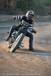 Misomi Takamine racing her and husband Go's Brat Style vintage Harley-Davidson Knucklehead at their flat track racing at West Point Offroad Village. Kawagoe, Saitama. Japan. Wednesday December 6, 2017. Photography ©2017 Michael Lichter.