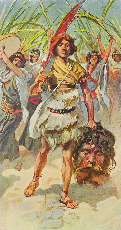 DAVID TAKES THE HEAD OF GOLIATH TO JERUSALEM. I Samuel xvii. 54 And David took the head of the Philistine, and brought it to Jerusalem; but he put his armour in his tent From the book ' The Old Testament : three hundred and ninety-six compositions illustrating the Old Testament ' Part II by J. James Tissot Published by M. de Brunoff in Paris, London and New York in 1904