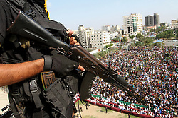 October 21, 2016 - Gaza, Gaza Strip, Palestinian Territory - A Palestinian Islamic Jihad militant stands guard on a roof during a rally marking the 29th anniversary of the movement foundation in Gaza City October 21, 2016  (Credit Image: © Abed Rahim Khatib/APA Images via ZUMA Wire)