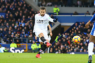 Yohan Cabaye of Crystal Palace (l) shoots at goal but sees his effort saved. Premier league match, Everton v Crystal Palace at Goodison Park in Liverpool, Merseyside on Saturday 10th February 2018. pic by Chris Stading, Andrew Orchard sports photography.