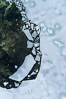 Abstract aerial view of the frozen sea in Muraste, Estonia.