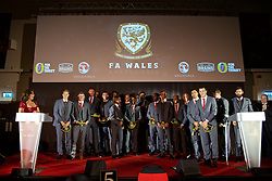 CARDIFF, WALES - Tuesday, November 8, 2016: Wales' Euro 2016 squad are presented with special blue Euro 2016 caps during the FAW Awards Dinner at the Vale Resort. David Edwards, Ben Davies, goalkeeper Wayne Hennessey, goalkeeper Owain Fon Williams, Sam Vokes, goalkeeper Daniel Ward, Joe Allen, Chris Gunter, Neil Taylor, manager Chris Coleman, captain Ashley Williams, Andy King, Jonathan Williams, David Cotterill, Hal Robson-Kanu, Gareth Bale, Simon Church, Joe Ledley. (Pic by David Rawcliffe/Propaganda)