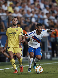 September 20, 2018 - Vila-Real, Castellon, Spain - Daniel Candeias of Rangers (R) competes for the ball with Alfonso Pedraza of Villarreal CF during the UEFA Europa League group G match between Villarreal CF and Rangers at Estadio de la Ceramica on September 20, 2018 in Vila-real, Spain  (Credit Image: © David Aliaga/NurPhoto/ZUMA Press)