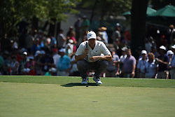 August 10, 2018 - St. Louis, Missouri, United States - Alex Noren lines up a putt on the 9th green during the second round of the 100th PGA Championship at Bellerive Country Club. (Credit Image: © Debby Wong via ZUMA Wire)