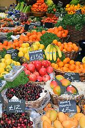 Fruit stall, Borough market, London UK Mrach 2019