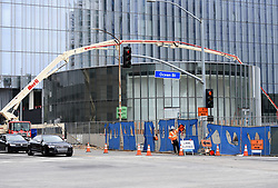 April 30, 2019 - Long Beach, California, U.S. - The exterior of the new Long Beach Civic Center appears to be nearing completion in Long Beach on Tuesday, April 30, 2019. The round building seen here will house the city council meetings. Once complete the center will be home to city hall, the main library, a destination park and a permanent headquarters building for the Port of Long Beach. (Credit Image: © Brittany Murray/SCNG via ZUMA Wire)