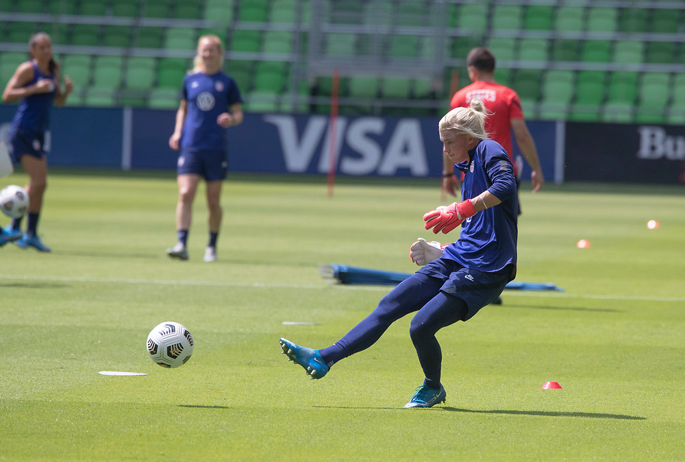 Goalkeeper JANE CAMPBELL and members of the United States Women's National Team (USWNT) warm up at the new Q2 soccer stadium in Austin during one of the final games on their road to the 2021 Tokyo  Olympics. The team will play a friendly with Nigeria on Wednesday evening.