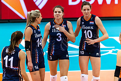 08-10-2018 JPN: World Championship Volleyball Women day 9, Nagoya<br /> Netherlands - Dominican Republic 3-0 / Laura Dijkema #14 of Netherlands, Yvon Belien #3 of Netherlands, Lonneke Sloetjes #10 of Netherlands
