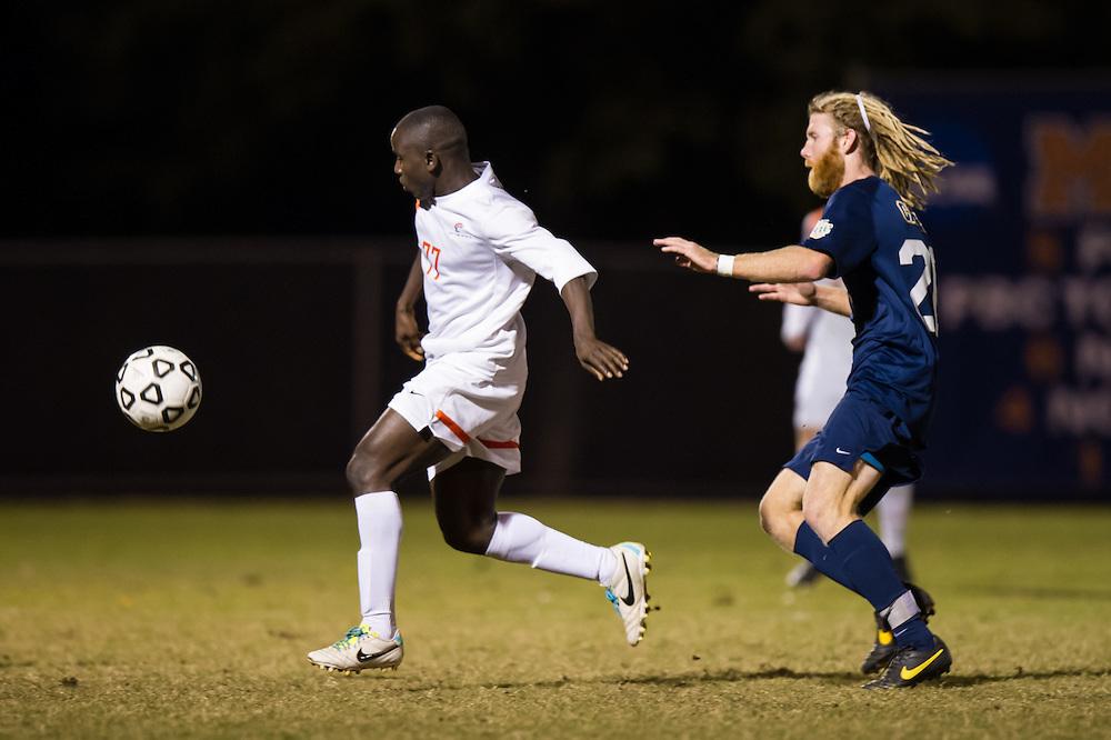 Oct 23, 2013; Morrow, GA, USA; Clayton State men's soccer player Alhagi Toure against Georgia Southwestern at CSU. CSU won 3-2. Photo by Kevin Liles/kevindliles.com