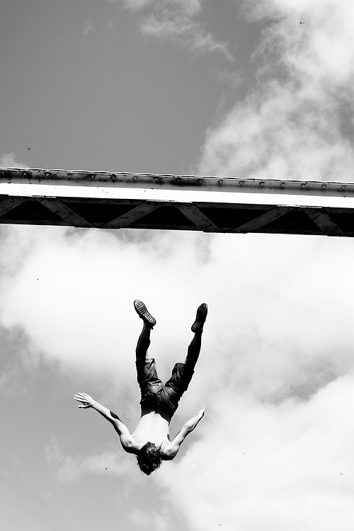 A jumper dives into the water off the bridge located at Young's Point, Ontario in Peterborough and the Kawartha Lakes region.