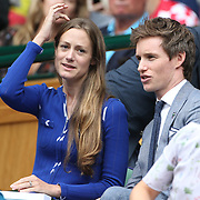 LONDON, ENGLAND - JULY 16: Eddie Redmayne and his wife Hannah Bagshaweat the Mens Singles Final between Roger Federer of Switzerland and Marin Cilic of Croatia during the Wimbledon Lawn Tennis Championships at the All England Lawn Tennis and Croquet Club at Wimbledon on July 16, 2017 in London, England. (Photo by Tim Clayton/Corbis via Getty Images)