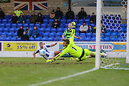 Forest Green Rovers Marcus Kelly(10) fires in a low cross during the FA Trophy 2nd round match between Chester FC and Forest Green Rovers at the Deva Stadium, Chester, United Kingdom on 14 January 2017. Photo by Shane Healey.
