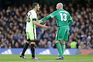 Martin Demichelis of Manchester City talks to Goalkeeper Wilfredo Caballero of Manchester City. The Emirates FA Cup, 5th round match, Chelsea v Manchester city at Stamford Bridge in London on Sunday 21st Feb 2016.<br /> pic by John Patrick Fletcher, Andrew Orchard sports photography.