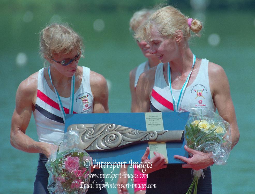 Lucerne, Switzerland. 1995 FISA WC III, Lake Rotsee, Lucerne,<br /> USA LW2X, Christine Collins<br /> Ellen Minzner,<br /> [Mandatory Credit. Peter SPURRIER/Intersport Images]<br /> <br /> Image scanned from Colour Negative