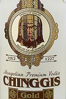 """Mongolie. Province de Tov. Bouteille de vodka Chinggis. // Mongolia. Tov province. Vodka bottle """"Chinggis"""""""