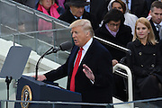 President Donald Trump delivers his Inaugural address after being sworn-in as the 45th President on Capitol Hill January 20, 2017 in Washington, DC.