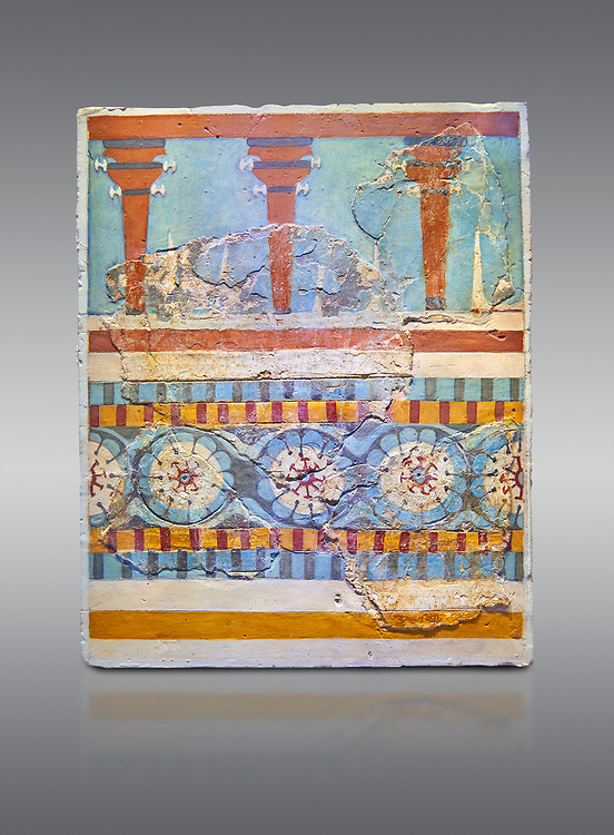 """The Minoan """"Three columned Shrine"""" minture fresco Knossos-Palace, 1700-1450 BC . Heraklion Archaeological Museum.,grey background<br /> <br /> <br /> The freco depicts a portico with columns on which double axes are fixed, separated by horns of consecration, on a balustrade decorated with rosettes .<br /> <br /> If you prefer to buy from our ALAMY PHOTO LIBRARY  Collection visit : https://www.alamy.com/portfolio/paul-williams-funkystock/minoan-art-artefacts.html . Type -   Heraklion   - into the LOWER SEARCH WITHIN GALLERY box. Refine search by adding background colour, place, museum etc<br /> <br /> Visit our MINOAN ART PHOTO COLLECTIONS for more photos to download  as wall art prints https://funkystock.photoshelter.com/gallery-collection/Ancient-Minoans-Art-Artefacts-Antiquities-Historic-Places-Pictures-Images-of/C0000ricT2SU_M9w"""